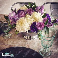 www.kamalion.com.mx - Decoración / Centros de Mesa / Morado / Purple / Lilac & White / Vintage / Rustic Decor / Wedding / Boda / Centerpiece / Blanco / Metallic.