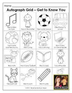 Back to School Community Building Activities - Common Core