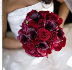 Beautiful red wedding bouquet, with roses, Gerber daisies, and purple calla lilies.