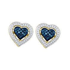 Yellow Gold Women's Round Blue Color Enhanced Diamond Heart Love Screwback Earrings Cttw Gemstone Carats total weightAll diamonds are natural and conflict-free in origin Round Colored Blue ct. Blue Diamond Jewelry, Diamond Heart, Diamond Studs, Gold Heart, Diamond Clarity, Blue Earrings, Heart Earrings, Diamond Earrings, Stone Earrings