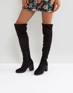 Truffle Collection Chunky Heel Stretch Over Knee Boots - Black