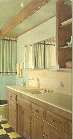 101 design ideas to decorate knotty pine - 24 page catalog from 1960 - Retro Renovation Bathroom Mirror With Shelf, Knotty Pine, Retro Renovation, Bathroom Fixtures, Bathroom Furniture, Amazing Bathrooms, Kitchen And Bath, Vintage Decor, Shelves
