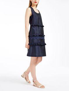 763a6e88bdd85f scarpe uomo · Max Mara COMICA navy  Silk taffeta dress. Vestito Di Taffetà