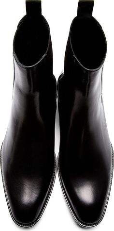 Saint Laurent: Black Leather Wyatt Chelsea Boots