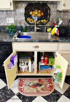 Great ideas for organizing the space under your sink (especially if you have older cabinets) | 4 Tips for Maximizing space under your kitchen sink