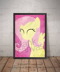 My Little Pony - Fluttershy - Minimalist Poster, Wall Art, Photo Print - Instant Download by BlankCanvasGallery on Etsy
