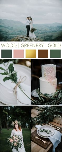 Wood, greenery and gold winery styled shoot in New Zealand. Photos by Michael Schultz Photography. #greenery