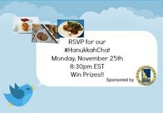 Create a Hanukkah board and use hashtag #HanukkahChat and share recipes during our Twitter Chat Monday night.