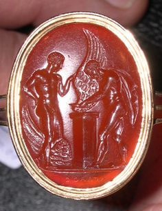 Poniatowski gem. Deadalus and Icarus forming their wings. Signature: Aglaos
