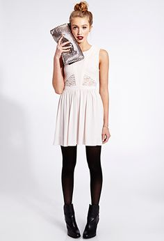 Must-Have Paneled Lace Dress | FOREVER21  White dress. Black tights. Dark lips. Love it.