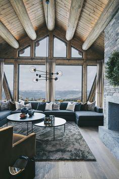 Modern Cabin Interior, Chalet Interior, Mansion Interior, Interior Design, Scandinavian Cabin, Nordic Home, Chalet Design, House Design, Mountain Dream Homes