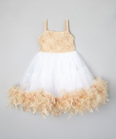 Look at this Ivory & Tan Rosette Dress - Infant & Kids on #zulily today!