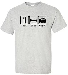 EatSleepTee Men's Eat Sleep Shoot T-Shirt Photography Enthusiast Tee Large Ash Grey