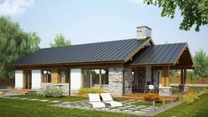 old english house Bungalow Haus Design, Modern Bungalow House, Modern Cottage, Wooden House Design, Country House Design, Small House Design, Style At Home, Small Country Homes, Beautiful House Plans