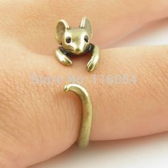 Boho chic vintage brons verstelbare rat ring muis kitten punk sieraden crystal ogen dier knuckle trouwring mannen(China (Mainland))