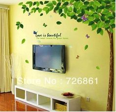 High quality! Extra Large 250cm*200cm!The Green tree Removable Art Vinyl Wall Stickers Decor Mural Decal