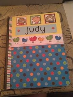 Word Work Books covered with scrapbook paper so they are pretty!