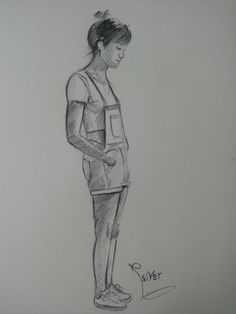 standing girl ,drawing by Siver serwer