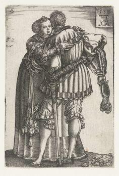 Omhelzend paar, Heinrich Aldegrever, 1538 Flinderhauben!!