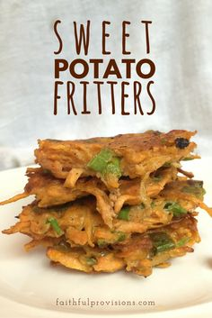 Sweet Potato Fritters | Try this easy, vegetarian, healthy, make-ahead recipe using a fall staple, sweet potatoes, served with my favorite dipping sauce!
