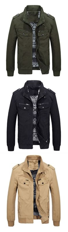 Casual Men'S Jacket Cotton Washed Coats outdoor Jacket