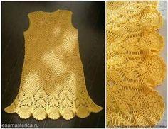 Katia Ribeiro Moda & Decoração Handmade: Vestido em Crochê Amarelo com Gráficos