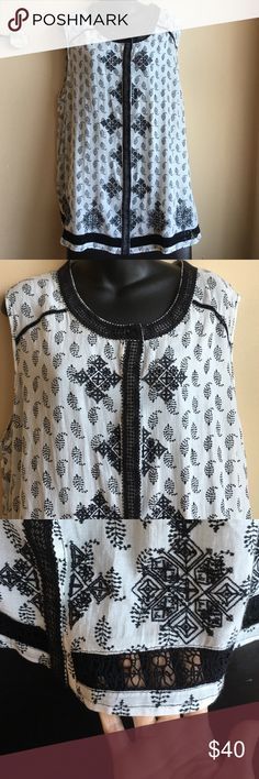 """Lucky brand embroidered top Very pretty top with cute lace and embroidery detailing. Top has hidden buttons going down the front . Fabric is 60% viscose 40% cotton . Embroidery is polyester . Armpit to armpit measures 27"""" laying flat . Lucky Brand Tops Blouses"""