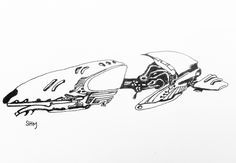 Spaceship #27 - May 27 2016 - ink on paper by Steven H MacDowall 7 inches = 17.78cm X 5 inches = 12.7cm (width x height).