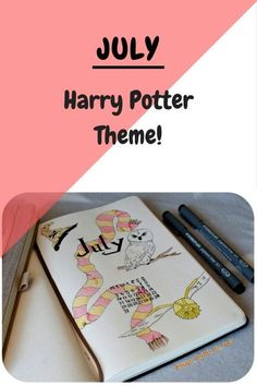Bullet journal, July spreads, monthly, weekly, brain dump, habit tracker, mood tracker, Harry Potter