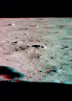 Apollo 11 - looking northwest- Anaglifo realizzato in occasione del 40° anniversario del primo sbarco sulla Luna