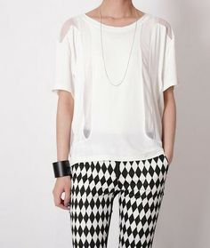 Lora Grenadine Insert Jesery Tee- White SALE $35.00 http://www.helloparry.com/collections/top/products/lora-grenadine-insert-jesery-tee-white