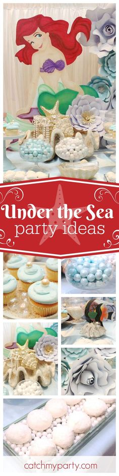 Take a trip Under the Sea with this fantastic mermaid birthday party. The paper flower back drop is stunning! See more party ideas and share yours at CatchMyParty.com
