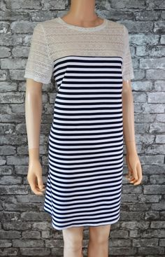 49124c585fd3e Women s Nautical Navy Blue and White Stripe Lace Shift Tunic Dress UK Size  14