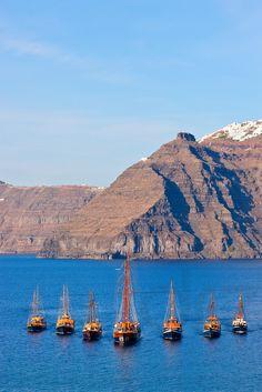Santorini,Greece - Sailing in the Caldera