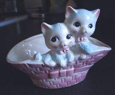 Vintage Ceramic Kitty Cat Planter in Basket Mint  by lindalou, $10.00
