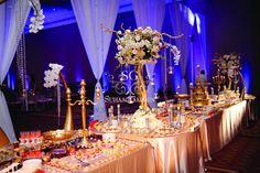 Suhaag Garden, Indian Wedding Decorator, Desert Lounge, Desert Presentation, Florida Wedding Decorator, Gold & Sapphire Themed Event, Dessert Lounge Display, Gold Elephant Tusks, Golden Globes, Glitter, Candelabras, Candlesticks, Gaylord Palms Kissimmee