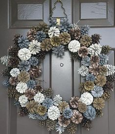 DIY Christmas Wreaths for Front Door - Party Wowzy - Christmas decorations - Christmas Pine Cones, Christmas Wreaths For Front Door, Christmas Door Decorations, Holiday Wreaths, Holiday Decor, Xmas, Front Door Wreaths, Winter Wreaths, Christmas Swags