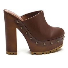 70s Take Faux Leather Clog Heels CHESTNUT ($23) ❤ liked on Polyvore featuring shoes, clogs, tan, platform clogs, high heel platform shoes, clog shoes, vegan clogs and tan shoes