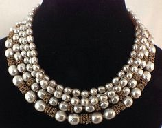 Vtg Signed Miriam Haskell 5 Strand Baroque Pearl Necklace Gold Tone Beads | eBay
