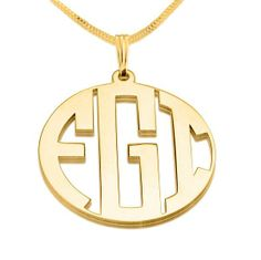 24k Gold Plated 3 Capital Letters Negative Font Monogram Necklace