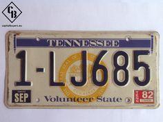 Placa - Matrícula metálica original de USA - Tennessee 1982 - Vintage / Antigua