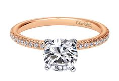 Elegant rose gold solitaire diamond engagement ring.  Gabriel ER4181T44JJ #seneedhamjewelers #loganutah
