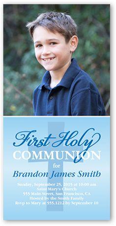 Boys Communion Invitations: Heavenly Cross, Square Corners, Blue