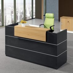 Modern Por Design Beauty Salon Reception Front Desk Wooden Black Salons