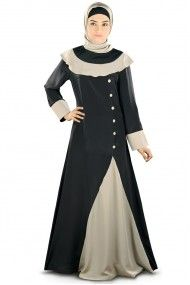 Crepe and Polyester Beads Party Wear Abayas in Black Colour