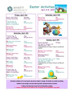 """SUN 04/05/15:  Easter Sunday we have LOTS of fun """"hoppening"""" at Hyatt Tamaya - Join us for our Easter Egg Hunt, Easter Bunny visit, and many more activities!"""