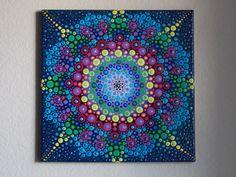 Dot Mandala Painting, 12x12 Canvas Wall Art, Bright Blue Mandala Painting, Dot Art Mandala by KailasCanvas on Etsy