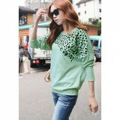 $9.62 Fashion Leopard Print Scoop Neck Long Sleeves Cotton Sweatshirt For Women