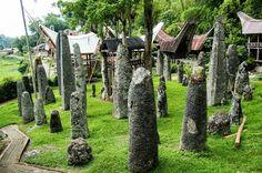 Megalieten bij Bori in Toraja land op Sulawesi.