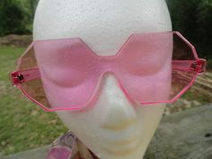 VTG 1970s Retro Groovy MOD Pink Love LUCITE SUNGLASSES Funky Made in France NOS